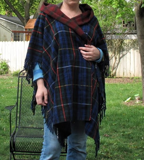 Resweater Tutorial Tuesday Wool Throw Blanket To Hooded Poncho