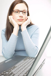 Woman reviewing credit reports