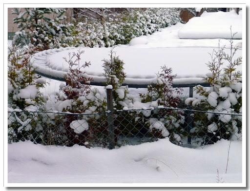 Snöig studsmatta