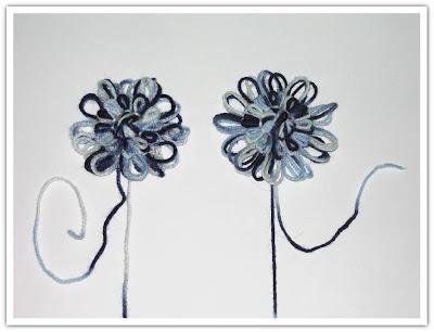 Blomma normal och med klistrat garn