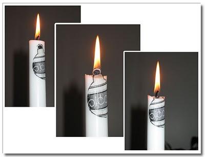 Ljus med decoupage brinner