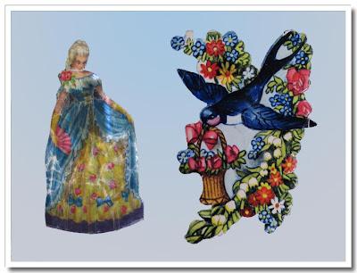 Bokmärken dam och fågel med blomkorg