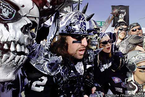la coliseum raider nation fans dressed pirates scary costumes bother