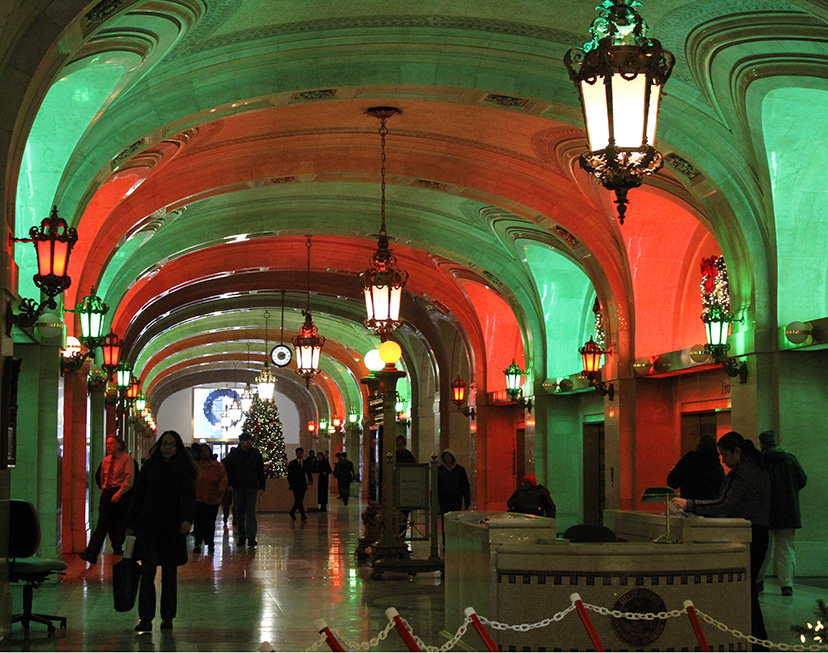 Chicago City Hall and County Building, Christmas, 2010