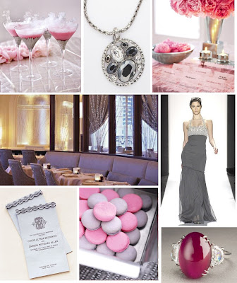 Pink and Gray wedding inspiration board from perfect bound