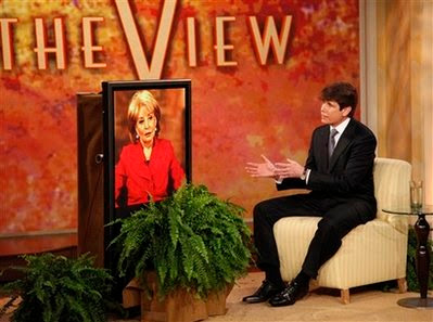 Gov. Rod Blagojevich speaks during an interview with Barbara Walters Monday, Jan. 26, 2009 on The View.