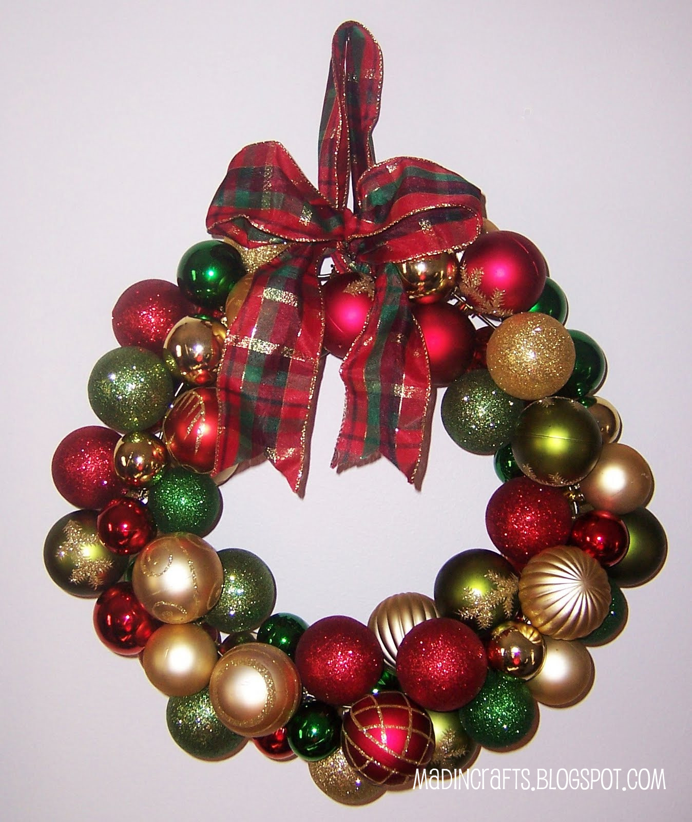 dollar store christmas wreath mad in crafts - Christmas Ball Wreath