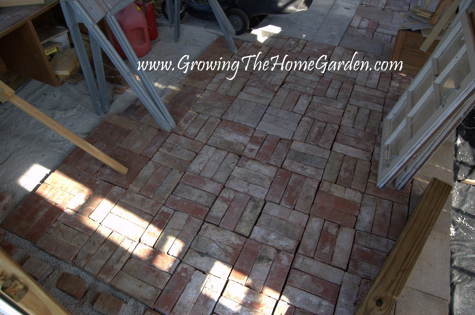 A brick floor in the garden shed from the garden shed from for Floor brick