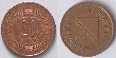 bosnia 20 feninga 1998