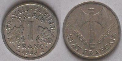 france 1 franc axe 1943