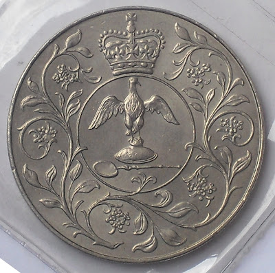england 25 pence crown silver jubilee of reign