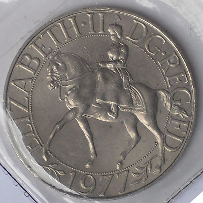 england crown 25 pence silver jubilee of reign