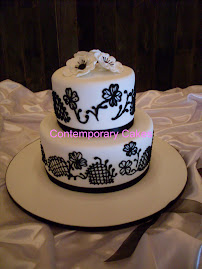 Black and white themed cake.