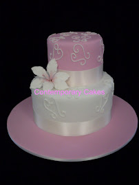 Pink and white theme sugar lily wedding cake.