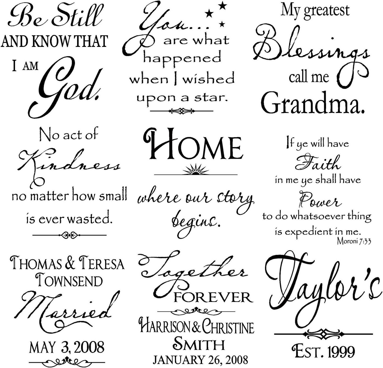 Vinyl lettering by susie large tiles many more available for Vinyl sayings for crafts