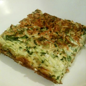 Mixed beaten eggs with shredded zucchini, green onions and chives. Add ...