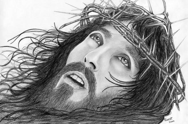 *  Cristo Jesus com uma coroa de espinhos   *
