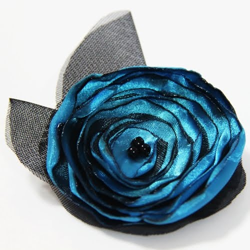 Lady Tempe Brooch and Hair Clip- Electric blue poppy with black tulle and
