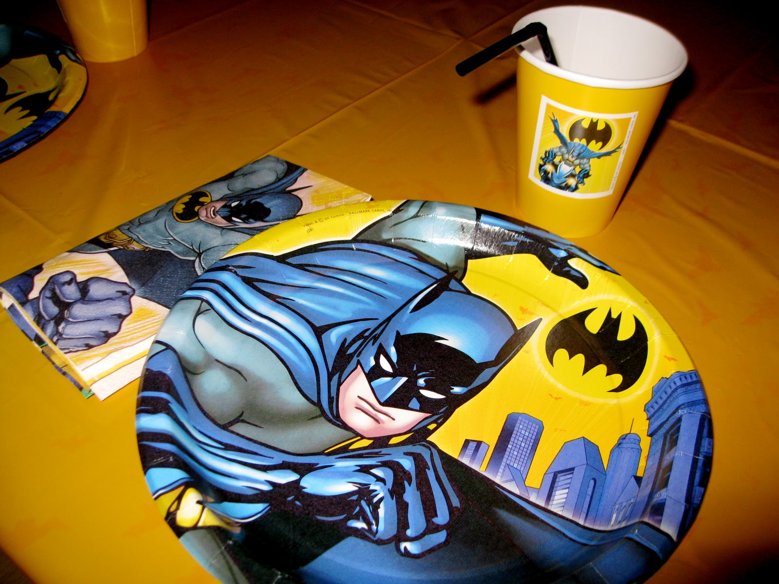 Batman Plates napkins and self-customized cups & RACKS and Mooby: Superhero (Batman) Birthday Party - Part 1