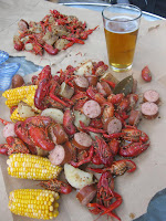 Mmm, crawfish and beer!