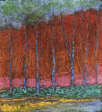 Red Behind Trees    8 x 12 appx