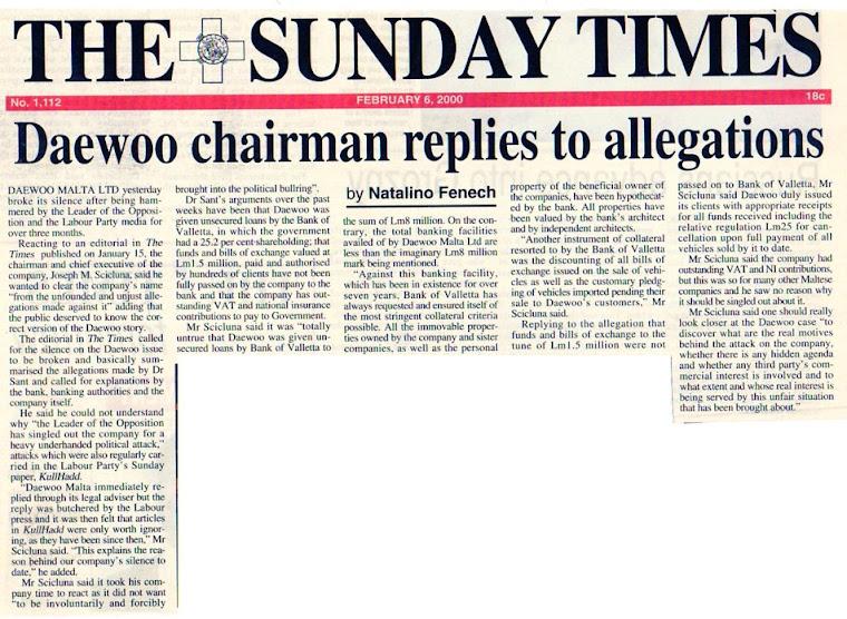Daewoo Chairman Joseph Mary Scicluna Lies