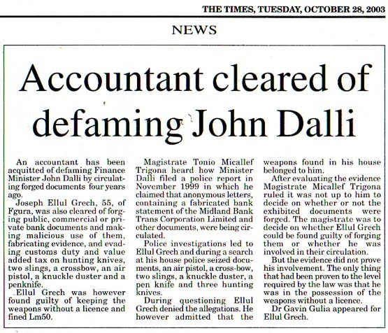 John Dalli's Victim Acquitted