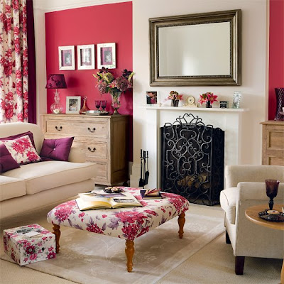 Country Living Room Furniture on Living Room Color Schemes   White And Pink Living Room Color