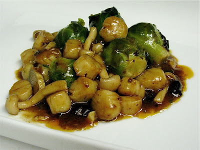 ... THE STOVE TOP: Baby Scallops and Brussel Sprouts w/ Black Bean Sauce
