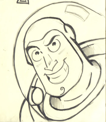 This one was done on Photoshop  with a brush that mimics pencil  I m    Buzz Lightyear Face Drawing