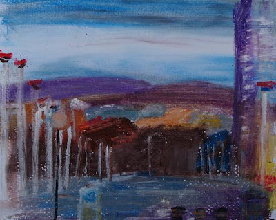 Tunstall Hills from Dame Dorothy Street, oil pastel March 07