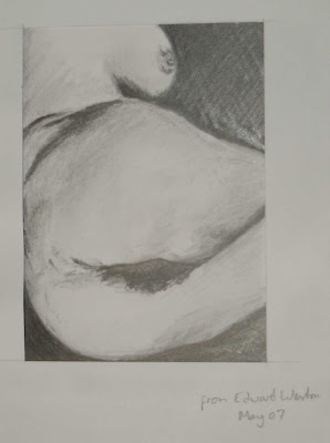 nude 4 in pencil from Edward Weston photograph May 07