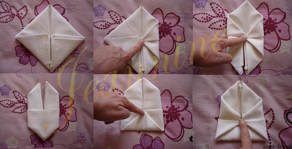 Paso a paso con jeannine como hacer un conejo con servilletas - Origami con servilletas ...