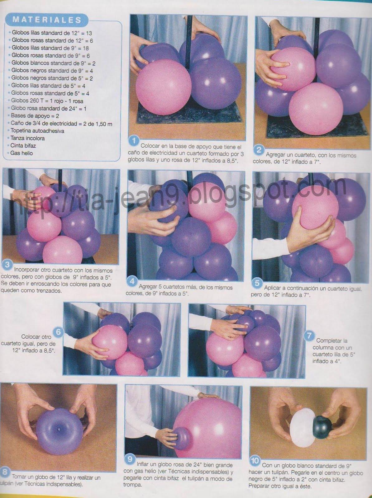 columnas con globos  cumplea u00f1os