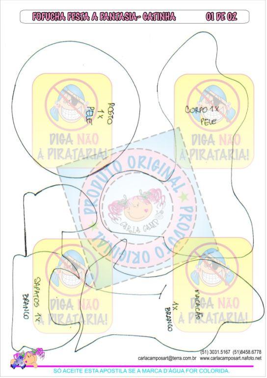 MOLDE FOFUCHA PLANA DISFRAZ DE GATUNO ( CARLA CAMPOS)