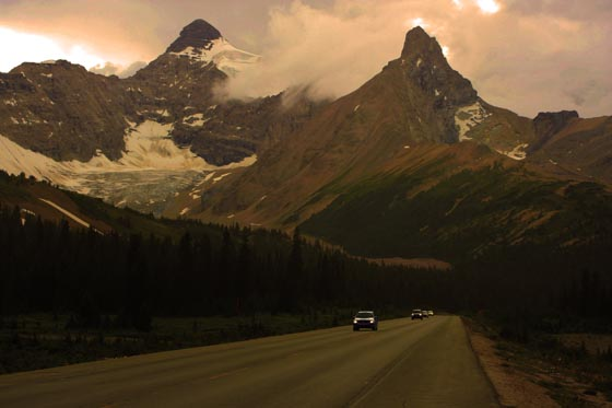 Driving toward the Athabasca Glacier in the Canadian Rockies of Jasper National Park.