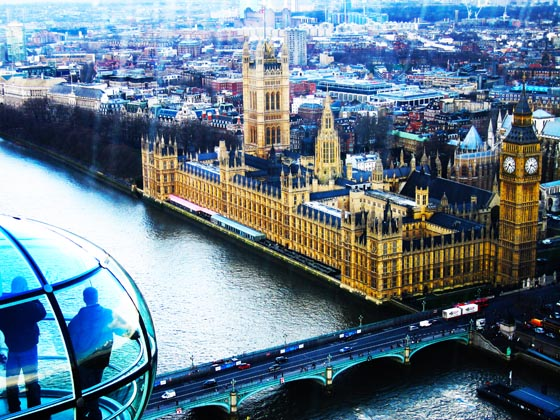 A great view from the London Eye of the Thames River, the Parliament building and people in another capsule on the London Eye.