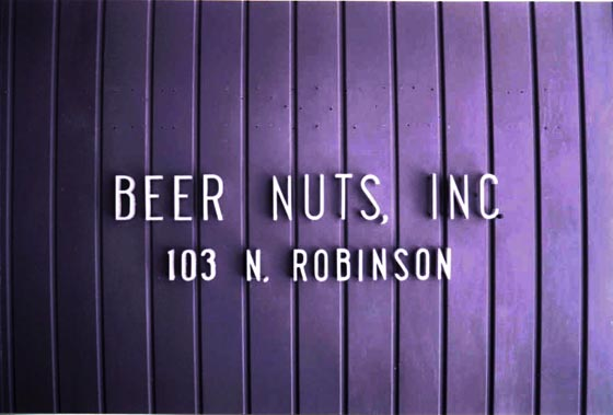 The sign at the entrance to the Beer Nuts, Inc building in Bloomington, Illinois.