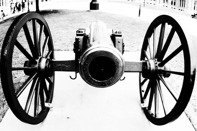 A cannon sitting on the grounds of the Texas State Capitol in Austin, Texas.
