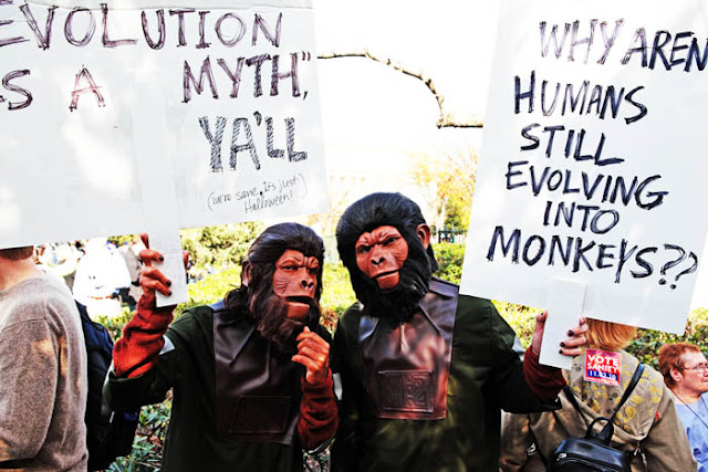 Two guys dressed in Planet of The Apes costumes in Washington D.C.