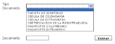 Seleccionar tipo de documento y escribir el número