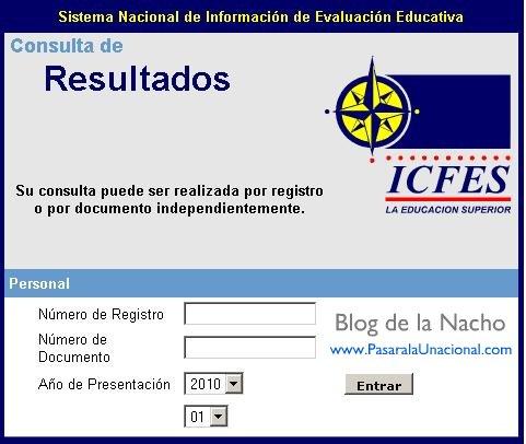 Sistema de información del ICFES: Consulta de resultados individuales