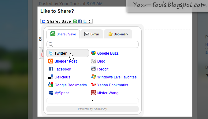 Share/Save/Bookmark/Email Button for Blogger