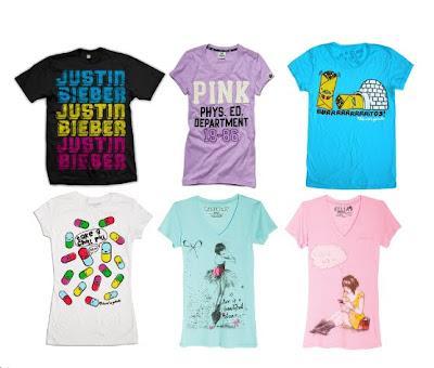 1 - Justin Bieber T-Shirts. 2 - Victoria's Secret - Embellished tee