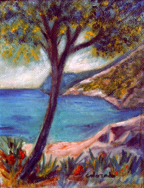 COSTA DE LOS PINOS. OIL PAINTING.