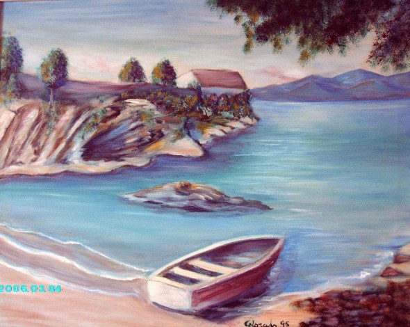 MEDITERRANEO SEA. OIL PAINTING.
