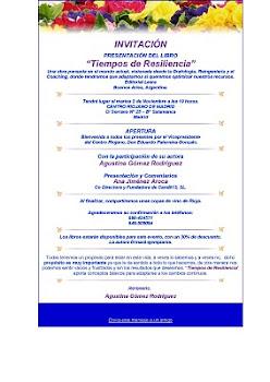 """INVITACIÓN a PRESENTACIÓN LIBRO: """"TIEMPOS DE RESILIENCIA"""""""