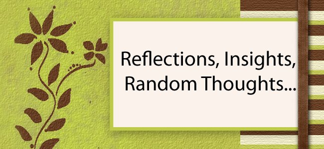 Reflection, Insights, Random Thoughts...