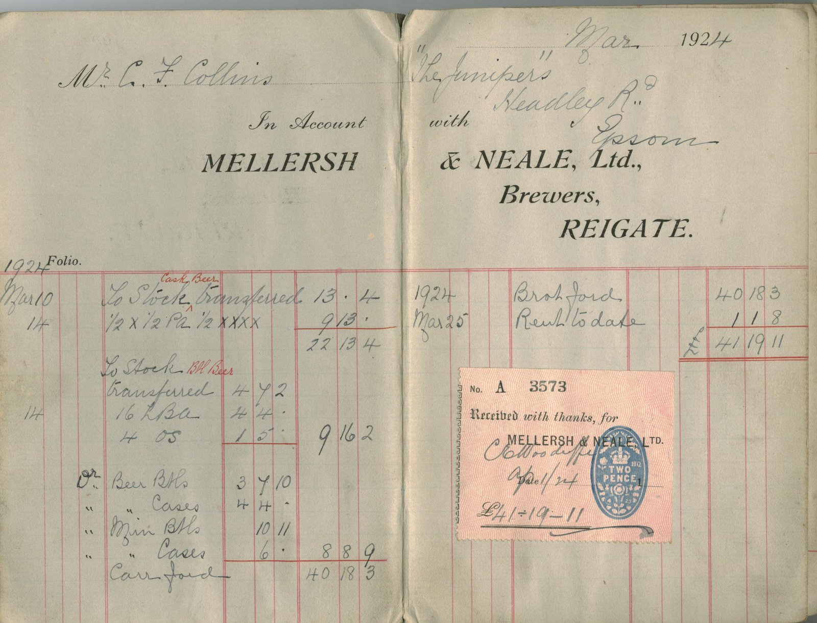 A page from Mellersh & Neale's accounts book 1924