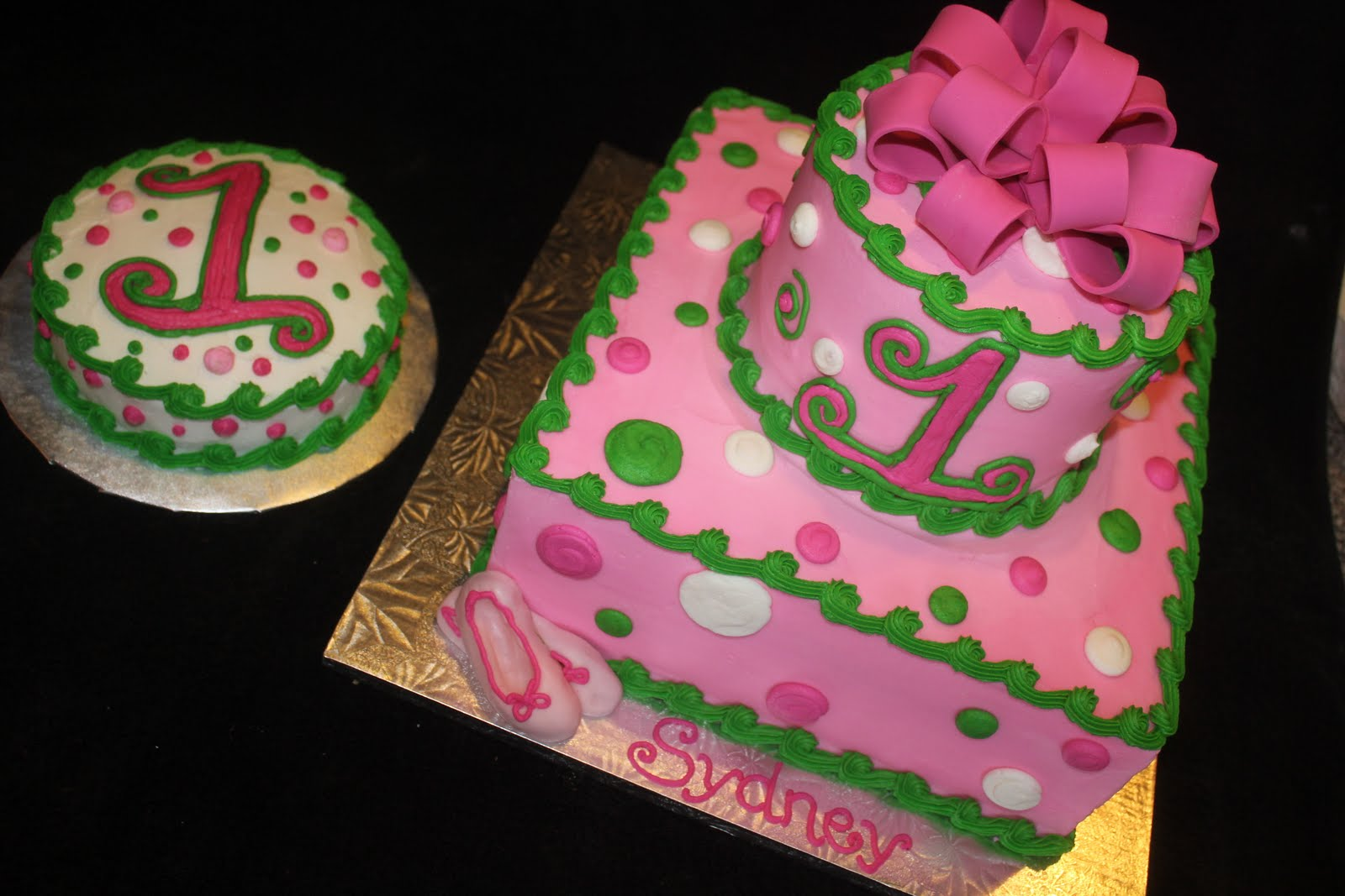 So Many Hobbies So Little Time Pink Green First Birthday Cake